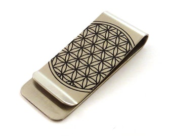 Flower of Life Stainless Steel Money Clip - Sacred Geometry - Gift for Him - Groomsman Gift