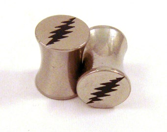 """13 Point Bolt Double Flared Surgical Steel Plugs 2g 0g (8mm) 00g (10mm) 7/16"""" (11 mm) 1/2"""" (13mm) 9/16"""" (14mm) 5/8"""" (16mm) Metal Ear Gauges"""