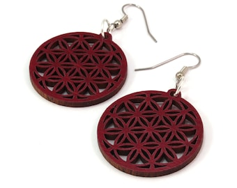 "Sustainable Wooden Flower of Life Hook Earrings - Small (1.3"") in Red Stained Maple - Sacred Geometry"