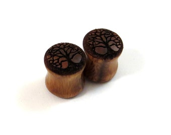 "Tree of Life Lignum Vitae Wooden Plugs - PAIR- 2g 6.5mm 0g 8mm 00g 9mm 10mm 7/16"" 11mm 1/2"" 13mm 9/16"" 14mm 5/8"" 16mm and up Wood Ear Gauges"