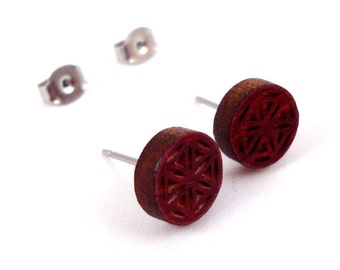 Flower of Life Sustainable Wooden Post Earrings - Small - Red Stained Maple Wood Studs