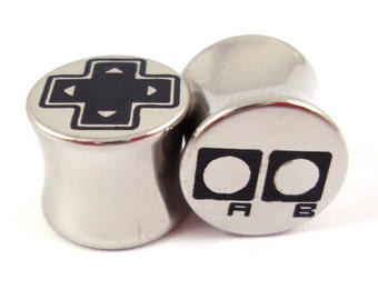 "Old-School Gamer Double Flared Plugs - Surgical Steel - 2g 0g 00g 7/16"" (11 mm) 1/2"" (13mm) 9/16"" (14mm) 5/8"" (16mm) - Metal Gauges"