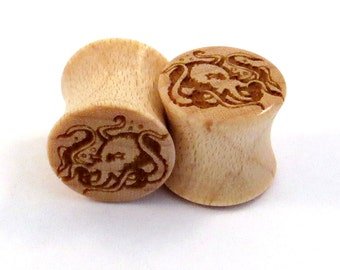 "Octopus Maple Wooden Plugs 00g (9mm) (10mm) 7/16"" (11mm) 1/2"" (13mm) 9/16"" (14mm) 5/8"" (16mm) 3/4"" (19mm) 7/8"" (22mm) Wood Ear Gauges"