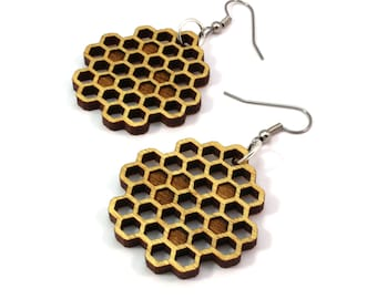 Honeycomb Yellowheart Hook Earrings - Honey Bee Wooden Dangle Earrings - Yellow Wood Beehive Earrings