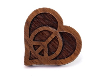 Peace Love Heart Wood Pin - Walnut, Oak, Red Stained Maple, or Black Stained Maple - Heart Peace Symbol Wooden Hat Pin