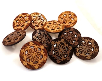 30 pack of Flower of Life Hat Pins - Sustainably Harvested Oak and Walnut