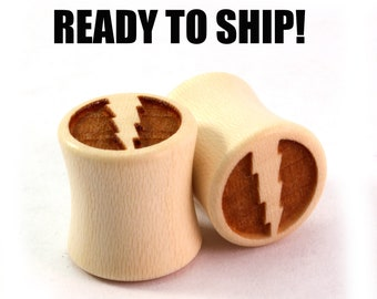 """READY TO SHIP - 7/16"""" (11mm) Holly Lightning Bolt Wooden Plugs - Dead Head - Premade Gauges Ship Within 1 Business Day!"""