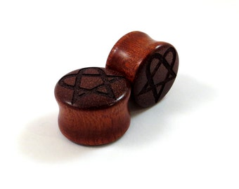 "Heartagram on Bloodwood Wooden Plugs - PAIR - 2g (6.5mm) 0g (8mm) 00g (9mm) 7/16"" (11mm) 1/2"" (13mm) 9/16"" (14mm) and up Red Wood Ear Gauges"