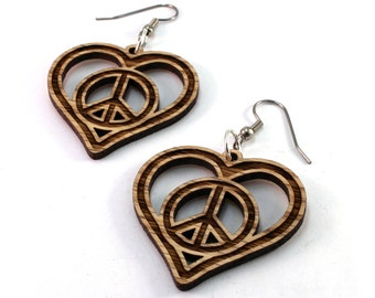 Peace Love Heart - Sustainable Wooden Earrings - in Oak, Walnut, Red or Black Stained Maple - Dangle Drop Wood Earrings