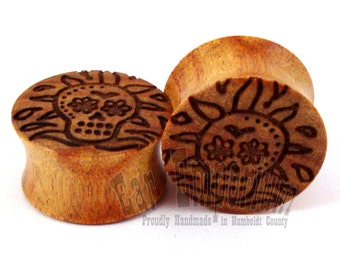 "Sugar Skull Canary Wooden Plugs PAIR 0g (8mm) 00g (9mm) (10 mm) 7/16"" (11mm) 1/2"" (13mm) 9/16"" (14mm) 5/8"" (16 mm) 3/4"" 19mm Wood Ear Gauges"