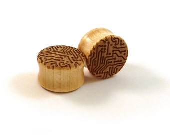 "Circuit Board Pattern Maple Wooden Plugs - PAIR - 00g (9mm) (10mm) 7/16"" (11mm) 1/2"" 9/16"" 5/8"" 16mm 3/4"" 19mm 7/8"" up to 2"" Wood Ear Gauges"