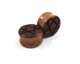 "Heartagram Lignum Vitae Wooden Plugs - PAIR- 2g 6.5mm 0g 8mm 00g 9mm 10mm 7/16"" 11mm 1/2"" 13mm 9/16"" 14mm 5/8"" 16mm and up Wood Ear Gauges"