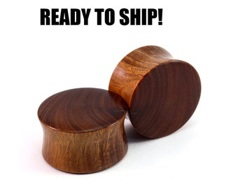 """READY TO SHIP - 7/8"""" (22mm) Lignum Blank with Grain Split Wooden Plugs - Stocking Stuffer - Premade Gauges Ship Within 1 Business Day!"""