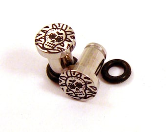 Sugar Skull 316L Surgical Steel Plugs - Single Flared - 8g (3mm) 4g (5mm) 2g (6mm) Fiesta Skeleton Metal Ear Gauges