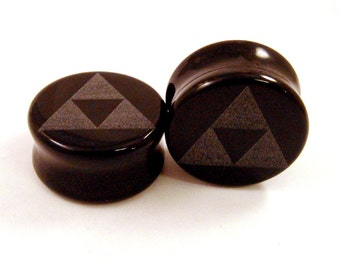 "Tri Force Black Glass Plugs 3/4"" (19mm) 1"" 25mm 1 1/8"" (28mm) (30mm) 1 1/4"" (32mm) Triforce Ear Gauges"