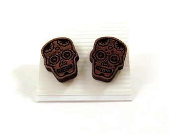 Sugar Skull Sustainable Wooden Post Earrings - Small - Walnut Wood Studs