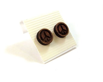 Peace Sign Walnut Wooden Post Earrings - Small - Sustainable Wood Ear Studs