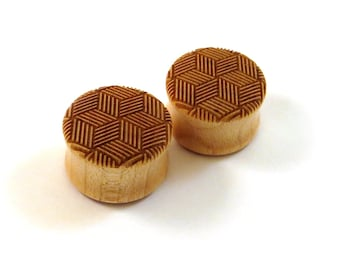 "Optical Cubic Illusion Maple Wooden Plugs  PAIR  9/16"" (14mm) 5/8"" (16mm) 3/4"" (19mm) 7/8"" (22mm) 1"" (25.5mm) and up to 2"" (51mm) Ear Gauges"
