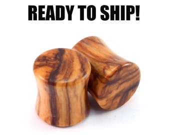 READY TO SHIP - 00g+ (10mm) Olivewood Unique Grain Wooden Plugs - Pair - Hand-Turned - Premade Gauges Ship Within 1 Business Day!