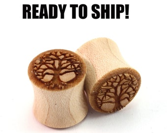 "READY TO SHIP - 7/16"" (11mm) Maple Tree of Life Wooden Plugs - Pair - Hand-Turned - Premade Gauges Ship Within 1 Business Day!"