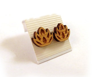 Lotus Flower Oak Wooden Post Earrings - Sustainable Wood Ear Studs