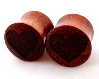 "Hearts - Bloodwood Wooden Plugs PAIR 2g 0g (8 mm) 00g (9 mm) 7/16"" (11mm) 1/2"" (13mm) 9/16"" (14mm) 5/8 (16mm) Valentines Heart Wood Gauges"