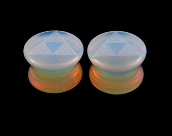 "Triforce Opalite Plugs 2g (6mm) 0g (8mm) 00g (10mm) 7/16"" (11mm) 9/16""(14mm) 5/8""(16mm) 3/4"" (19mm) 1"" (25mm) Translucent Glass Ear Gauges"