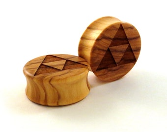 "Triforce Olivewood Wooden Plugs PAIR 2g (6.5mm) 0g (8mm) 00g (9mm) (10mm) 7/16"" (11mm) 1/2"" 13mm 9/16"" 5/8"" 3/4"" + Wood Ear Gauges Tri Force"