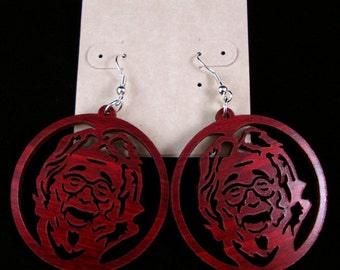 Jerry Garcia Sustainable Wooden Earrings - Red Stained Maple - Grateful Dead-Inspired