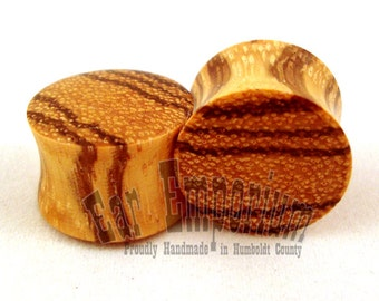 "Zebrawood Wooden Plugs 2g (6.5mm) through 1 3/4"" (44mm) - 0g 8mm 00g 9mm 10 mm 7/16"" 11mm 1/2"" 13mm 9/16"" 14mm Zebra Striped Wood Ear Gauges"