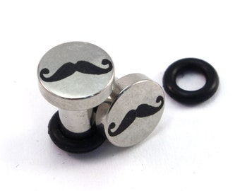 Mustache Surgical Steel Plugs - Single Flared - 8g (3mm) 6g (4mm) 4g (5mm) 2g (6mm) Metal Ear Gauges