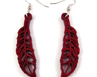 Sustainable Wooden Feather Earrings - in Red Stained Maple - Medium