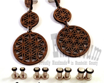 Flower of Life Wooden Dangle Plugs on Single Flared 316L Surgical Steel Gauges - 8g (3mm) 6g (4mm) 4g (5mm) 2g (6mm) Metal Ear Gauges