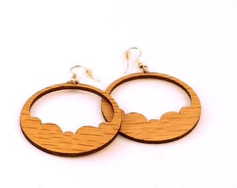 Cloud Hoop Wooden Hook Earrings - Sustainably Harvested Oak, Walnut, Red or Black Stained Maple - Sustainable Wood Dangle Earrings