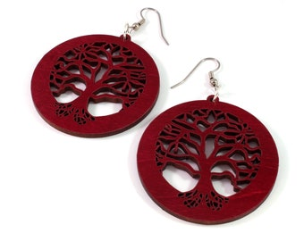 "Tree of Life Sustainable Wooden Earrings - in Red Stained Maple - 2"" - 4 Colors Available - Wood Dangle Hook Earrings - Gift for Her"