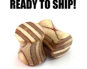 READY TO SHIP - 0g (8mm) Limited Laminate Wooden Plugs - Pair - Premade Gauges Ship Within 1 Business Day!