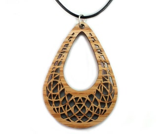Tear Drop Dreamcatcher Wooden Pendant - Oak, Walnut, Red or Black Stained Maple - Sacred Geometry -  Sustainable Wood Jewelry - SHIPS FREE