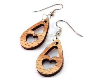 """Tiny Heart Tear - Sustainable Wooden Earrings - in Oak, Walnut, Red or Black Stained Maple - 1.1"""" Heart Teardrop Dangle Drop Wood Earrings"""