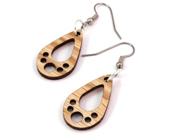 "Tiny Teardrop Wooden Hook Earrings - Made of Sustainable Oak, Walnut, or Red Stained Maple Wood - 1.1"" tall - Wood Tiny Tear Drop"