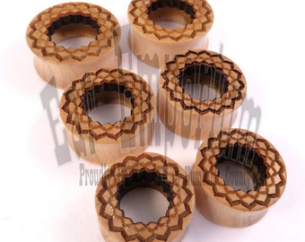 "Radiant Ora Cutout Tunnels - Maple Wooden Ear Plugs - 5/8"" (16mm) 3/4"" (19mm) 7/8"" (22mm) 1"" (25.5mm) 1 1/8"" (28mm) 1 1/4"" 32mm 38mm 44mm"