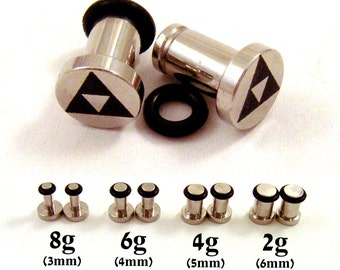 Tri Force 316L Surgical Steel Plugs - Single Flared - 8g (3mm) 4g (5mm) 2g (6mm) Triforce Metal Ear Gauges - Zelda Fan Gift