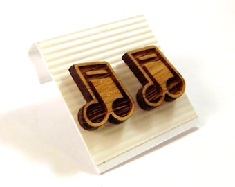 Music Note Oak Wooden Post Earrings - Sustainable Wood Ear Studs