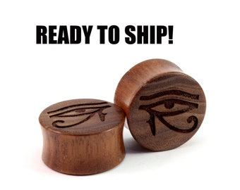 """READY TO SHIP - 7/8"""" (22mm) Walnut Eye of Horus (dull finish) Wooden Plugs - Pair - Premade Gauges Ship Within 1 Business Day!"""