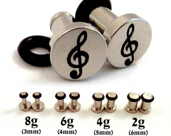 Treble Clef Single Flared 316L Surgical Steel Plugs - 8g (3mm) 6g (4mm) 4g (5mm) 2g (6mm) Music Notes Treble Cleff Symbol Metal Ear Gauges