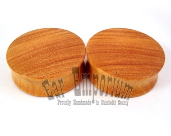 Osage Orange Wooden Plugs - PAIR -  2g (6.5mm) through sizes 1 1/2'' (38mm)