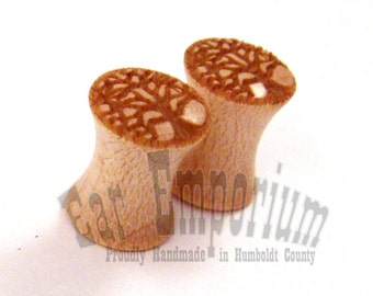 "Tree of Life Maple Wooden Ear Gauges Shown in 2g (6mm) Also in 0g (8mm) to 1 3/4"" (44mm) including 00g (9mm) (10mm) 7/16"" (11mm) 1/2"" (13mm)"