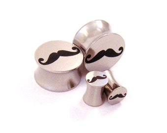 "Mustache Surgical Steel Plugs - Double Flared - 2g 0g 00g (10mm) 7/16"" (11 mm) 1/2"" (13mm) 9/16"" (14mm) 5/8"" (16mm) Metal Ear Gauges"