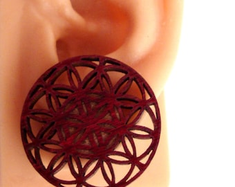 Flower of Life Sustainable Wooden Post Earrings - Center Hanging Large Red Stained Maple Wood Studs