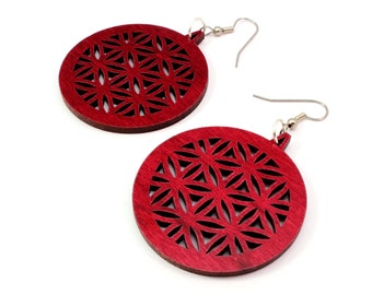 "Flower of Life Wooden Hook Earrings Large (1.75"") - Made of Sustainable Red or Black Stained Maple, Oak, or Walnut Wood Dangle Earrings"