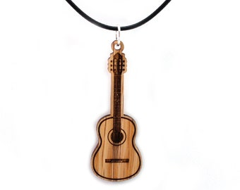 "Guitar Wooden Pendant - Oak - 2.2"" tall - Sustainable Wood Jewelry - SHIPS FREE"